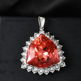 J Francis Crystal From Swarovski Padparasha Crystal and White Crystal Pendant in Platinum Overlay Sterling Silver