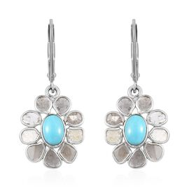 Artisan Crafted Arizona Sleeping Beauty Turquoise (Ovl), Polki Diamond Floral Lever Back Earrings in