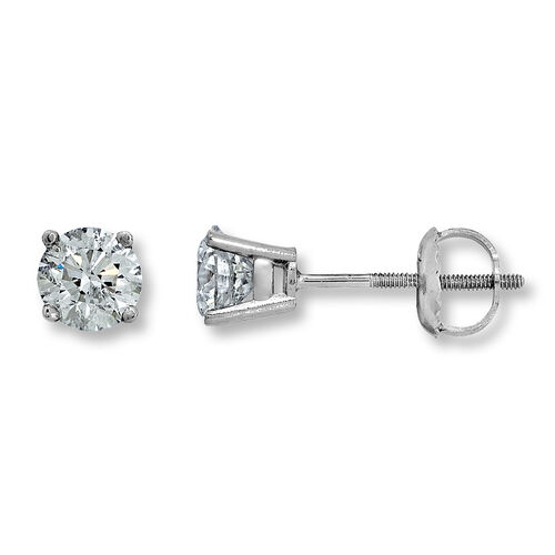 New York Close Out-14K White Gold EGL CERTIFIED Diamond (Rnd) (I1-I2/G-H) Stud Earrings (with Screw
