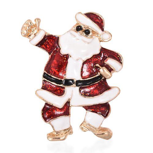 Santa Claus Brooch in Gold Tone