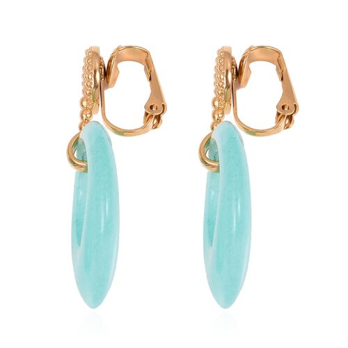 Russian Amazonite Clip - on Earrings in Stainless Steel 35.000 Ct.