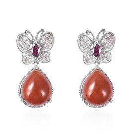 Red Jade (Pear 12x10 mm), Natural White Cambodian Zircon and Rhodolite Garnet Butterfly Earrings (wi