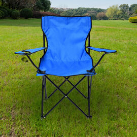 Portable Folding Camping Outdoor Chair with Mesh Cup Holder (Support upto 100Kg) (Size:80x50Cm) - Bl
