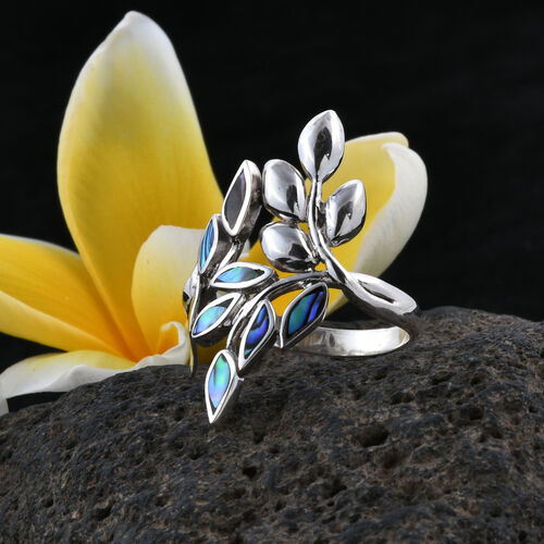 Royal Bali Collection Abalone Shell Leaf Ring in Sterling Silver