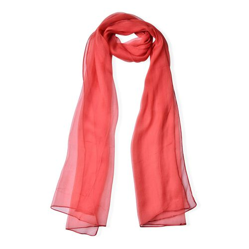 One Time Deal-100% Mulberry Silk Red Colour Scarf (Size 170X70 Cm)