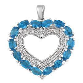 AA Malgache Neon Apatite (Ovl), Natural Cambodian Zircon Heart Pendant in Platinum Overlay Sterling