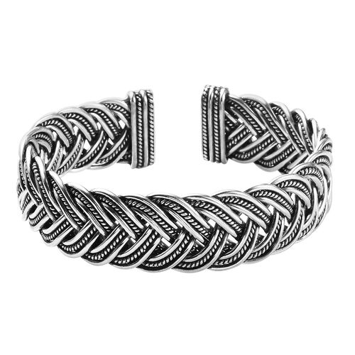 Braided Cuff Bangle in Sterling Silver 64.43 Grams 7.5 Inch