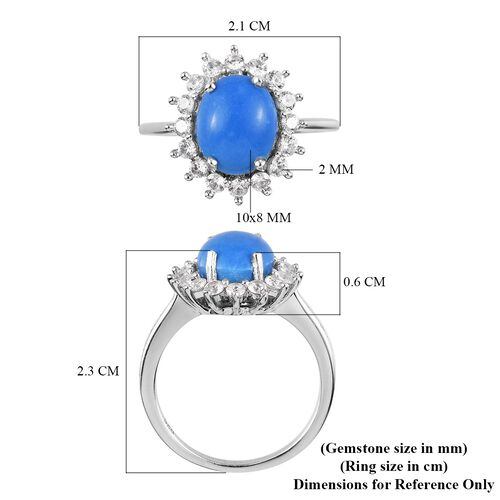 Ceruleite and Natural Cambodian Zircon Halo Ring in Platinum Over Sterling Silver 3.00 Ct.
