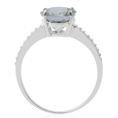 Green Amethyst (Ovl) Solitaire Ring in Sterling Silver 3.250 Ct.