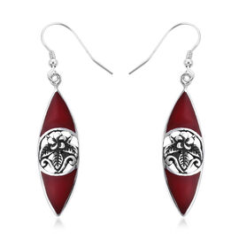 Royal Bali Sponge Coral Floral Drop Hook Earrings in Sterling Silver
