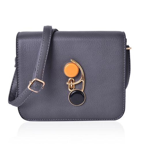 Grey Colour Crossbody Bag with Swing Lock Closure and Adjustable Shoulder Strap (Size 20X18X8 Cm)