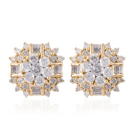 9K Yellow Gold SGL CERTIFIED Diamond (Rnd and Bgt) (I3 / G-H) Stud Earrings (with Push Back) 1.000 C