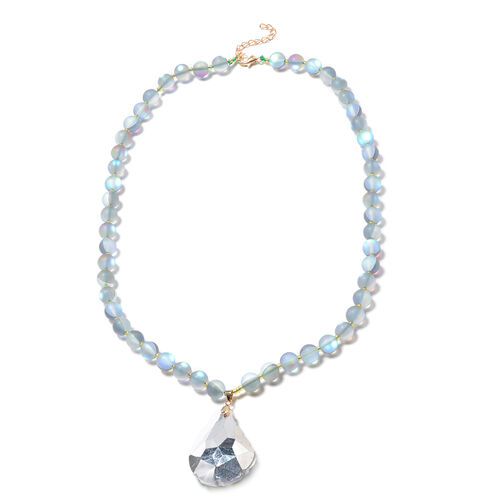 Simulated Aquamarine, Simulated Champagne Diamond Beaded Necklace (Size 25 with Extension) in Yellow