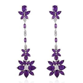 GP Amethyst (Pear), Natural White Cambodian Zircon and Madagascar Blue Sapphire Dangling Earrings (with Push Back) in Rhodium Plated Sterling Silver 7.120 Ct. Silver wt 6.50 Gms.