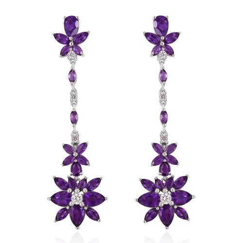 GP Amethyst (Pear), Natural White Cambodian Zircon and Madagascar Blue Sapphire Dangling Earrings (w