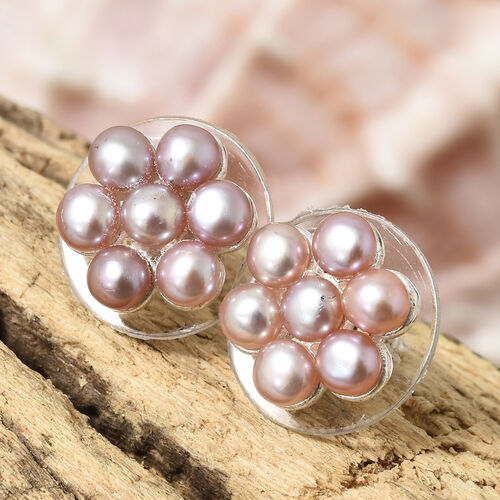 Fresh Water Pink Pearl (Rnd) Stud Earrings (With Plastic Push Back) in Sterling Silver