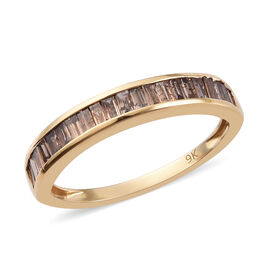 9K Yellow Gold SGL Certified Champagne Diamond (I3) Band Ring  0.50 Ct.