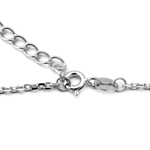 ELANZA Simulated Diamond (Rnd) Adjustable Charm Bracelet (Size 7 with 1 inch Extender) in Rhodium Overlay Sterling Silver