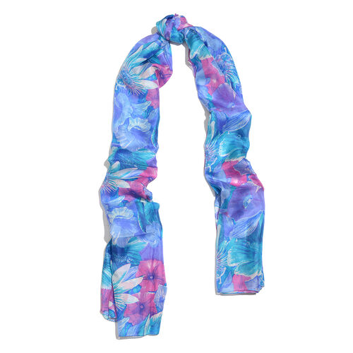 100% Mulberry Silk Dark Blue, Purple and Multi Colour Floral Pattern Scarf (Size 180x100 Cm)