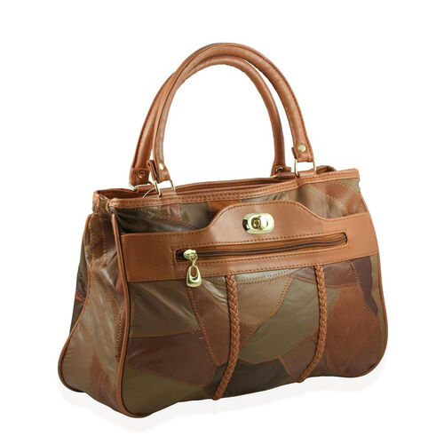 Close Out Deal Leather Patchwork Tan Bag with Long Shoulder Strap (Size 32x22x8 cm)