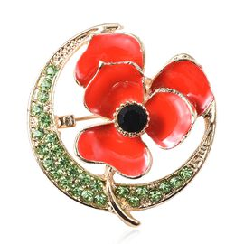 Green and Black Austrian Crystal (Rnd ) Enamelled Poppy Flower and Crescent Moon Brooch