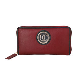 100% Genuine Leather RFID Red Wallet with Dark Navy Piping and Zipper Closure