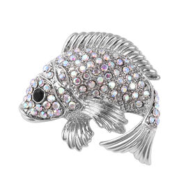 Simulated Mystic White Crystal and Black Austrian Crystal Fish Brooch in Silver Tone