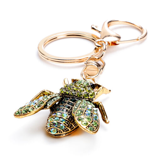 Set of 3 - Simulated Pearl, Multi Colour Austrian Crystal and Multi Gemstone Bee, Beetle and Palm Tree Keychains in Yellow Gold Tone