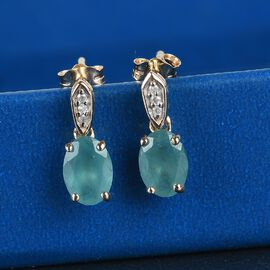 9K Yellow Gold  Grandidierite and White Diamond Dangling Earrings (with Push Back) 1.68 Ct