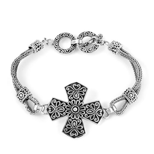 Royal Bali Collection Sterling Silver Tulang Naga Cross Bracelet (Size 7.5), Silver wt 22.00 Gms.