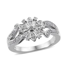 0.25 Carat Diamond Floral Ring in Platinum Plated Sterling Silver
