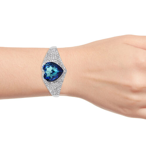 J Francis - Crystal from Swarovski Bermuda Blue Crystal (Hrt), White Crystal Heart Cuff Bangle (Size 7.5) in Platinum Overlay Sterling Silver, Silver wt 40.77 Gms