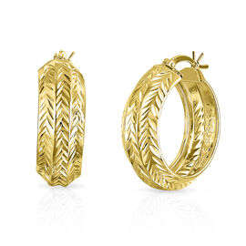 14K Gold Overlay Sterling Silver Diamond Cut Hoop Earrings (with Clasp)
