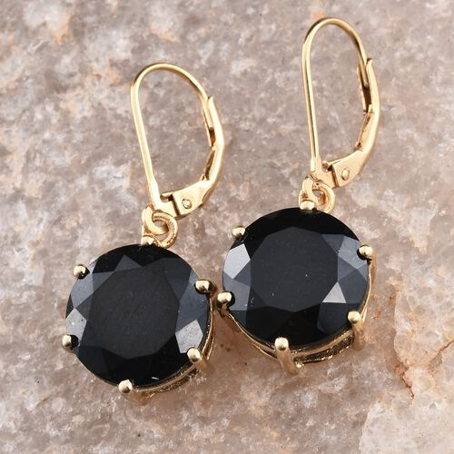 Black Tourmaline (Rnd) Lever Back Earrings in 14K Gold Overlay Sterling Silver 12.500 Ct.