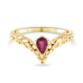 RACHEL GALLEY Chevron Collection - African Ruby Ring in Yellow Gold Overlay Sterling Silver