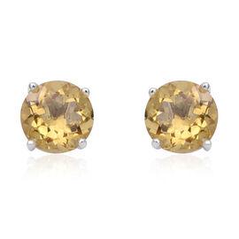 6.93 Ct Lemon Quartz Solitaire Stud Earrings in Sterling Silver