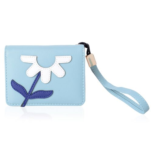 Blue, White and Light Green Colour Flower Pattern Bi-Fold Ladies Wallet (Size 12x9x3.5 Cm)