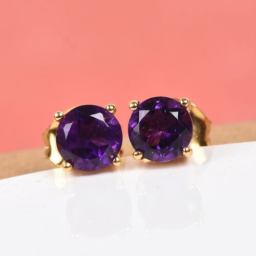 Amethyst Stud Earrings (with Push Back) in 14K Gold Overlay Sterling Silver 1.00 Ct.