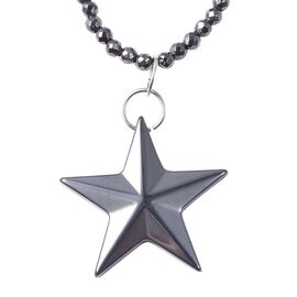 256 Carat Carved Hematite Star Necklace with Magnetic Lock 24 Inch