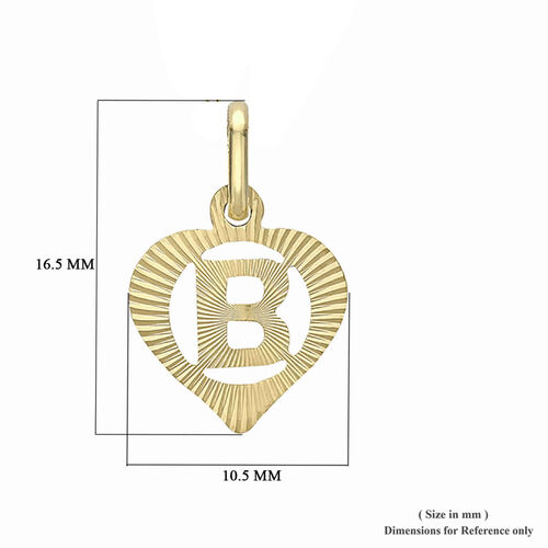 9K Yellow Gold Diamond Cut B Initial Heart Pendant