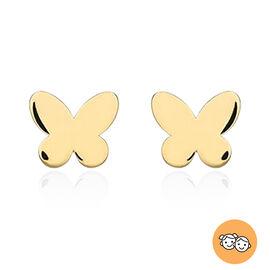 Children Butterfly Stud Earrings in 9K Yellow Gold