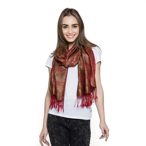 SILK MARK - 100% Superfine Silk Red and Multi Colour Jacquard Jamawar Scarf with Fringes at the Bott