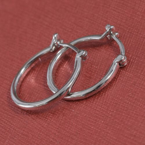 RHAPSODY 950 Platinum Hoop Earrings (with Clasp Lock). Platinum Wt 1.93 Gms