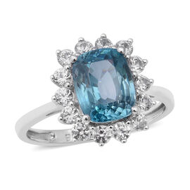 Ratanakiri Blue Zircon and Cambodian Zircon Halo Ring in 9K White Gold