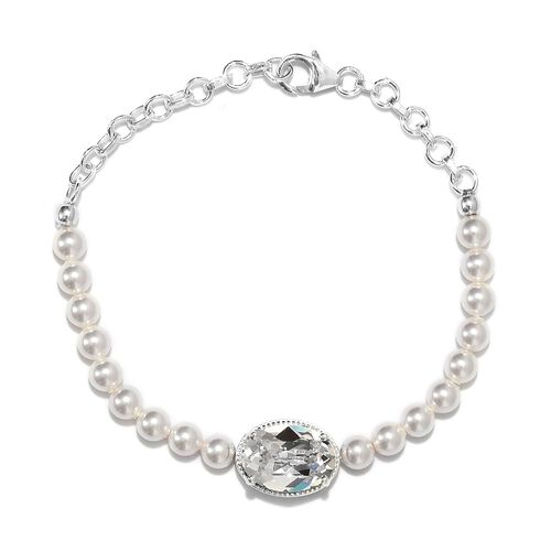 J Francis White Crystal and White Pearl from Swarovski Beaded Bracelet in Sterling Silver 8 Inch