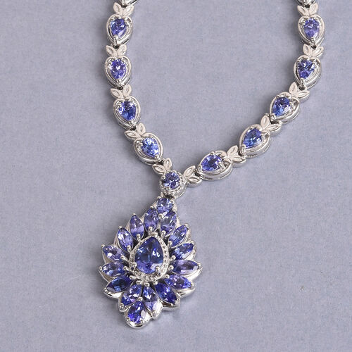 Limited Edition - AAA Tanzanite Necklace (Size 18) in Platinum Overlay Sterling Silver 5.00 Ct, Silver wt 9.00 Gms
