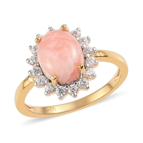 Oregon Sunrise Peach Opal and Natural Cambodian Zircon Halo Ring in  14K Gold Overlay Sterling Silve