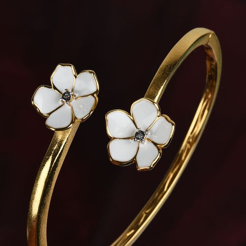 Diamond Floral Eanmelled Bangle (Size 7.5) in Rose Gold Tone
