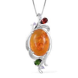 Baltic Amber (Ovl 3.50 Ct), Russian Diopside, Mozambique Garnet and Multi Gemstone Pendant with Chain (Size 18) in Rhodium Plated Sterling Silver 4.030 Ct.