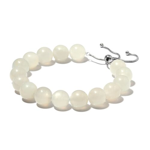Extremely Rare- Natural Sri Lankan White Moonstone (Rnd) Beads Adjustable Bracelet (Size 6.5 to 9.5) in Rhodium Overlay Sterling Silver 177.500 Ct